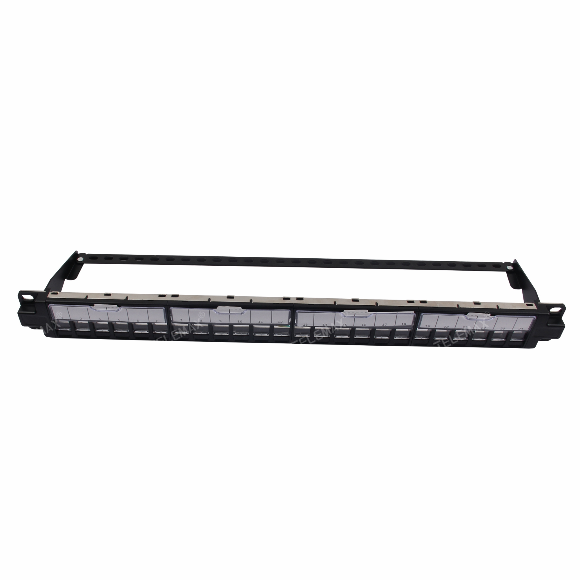 1U 19'' 24 Ports FTP Blank patch panel with transparent dust shutter ( Empty patch panel)